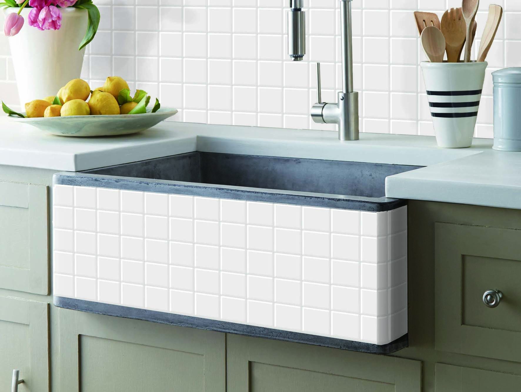 Peel and Stick Kitchen Backsplash Tiles, White Decorative Tile, (10 ...